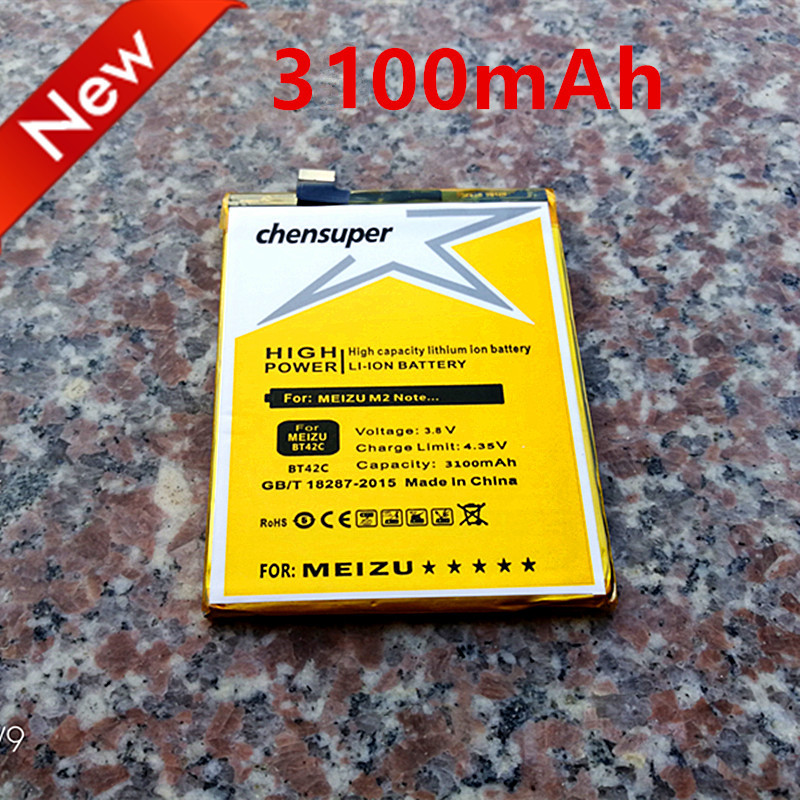Новый 3100 мАч BT42C Батарея для <font><b>Meizu</b></font> <font><b>M2</b></font> Примечание Батарея для meilan Примечание 2 Аккумуляторы в наличии