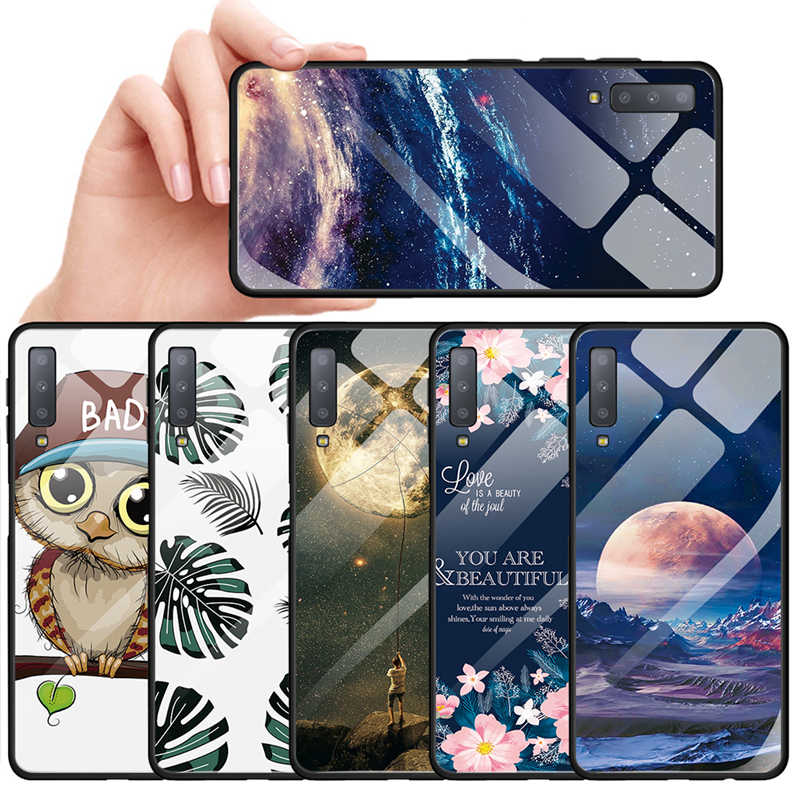 Tempered Glass Phone Case For Samsung Galaxy S9 S8 Plus Note 9 8 J4 J6 Plus A7 2018 Starry Sky Moon Patterned Cover Armor