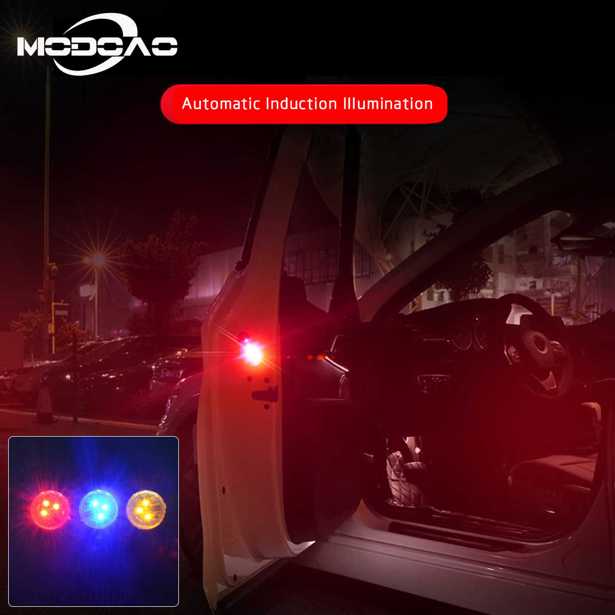 2pcs Car Door Opening Warning Lights Magnetic Flash Strobe Signal Lights 3LEDs security car strobe light Wireless Alarm Lamp