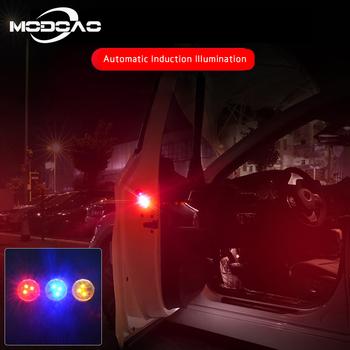 2 sztuk otwierania drzwi samochodu światła ostrzegawcze magnetyczne lampy błyskowe stroboskopowe światła sygnalizacyjne 3LEDs bezpieczeństwa samochodów światło stroboskopowe bezprzewodowa lampa alarmowa tanie i dobre opinie modoao Lampa atmosfera Car decoration light 3V Button Battery ABS Metal red yellow blue color