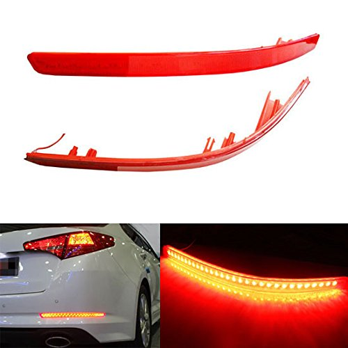 2pcs Red Lens LED Bumper Reflector For 2011 2012 2013 Kia Optima K5 as Rear Fog