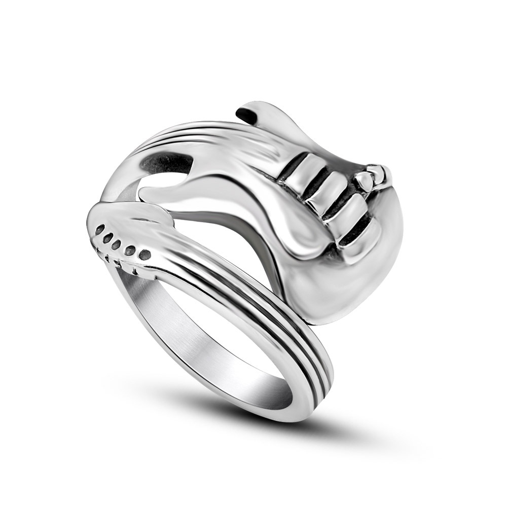New Fashion Jewelry Stainless Steel Mens Ring Engraved Guitar Punk Rock Classic Silver Open Rings for Men Size 7-12