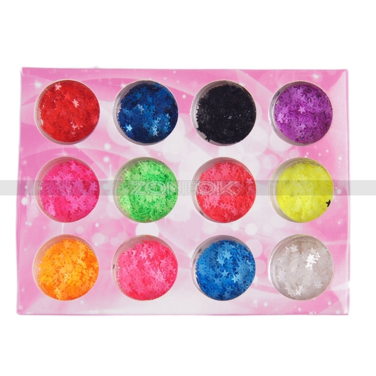 12 Colors Star Bling Glitter Sequin Studs 2mm Tool Manicure Nail Art Tips Kit 2017 New