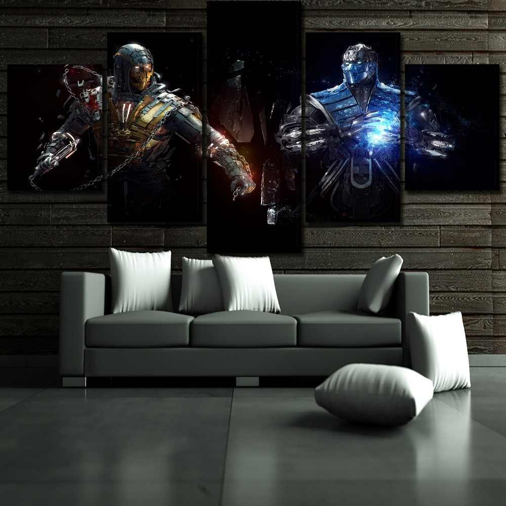 Modern Canvas Print Wall Art Poster Home Decor Frame 5 Pieces Sub-Zero And Scorpion Movie Mortal Kombat Painting For Boys Room