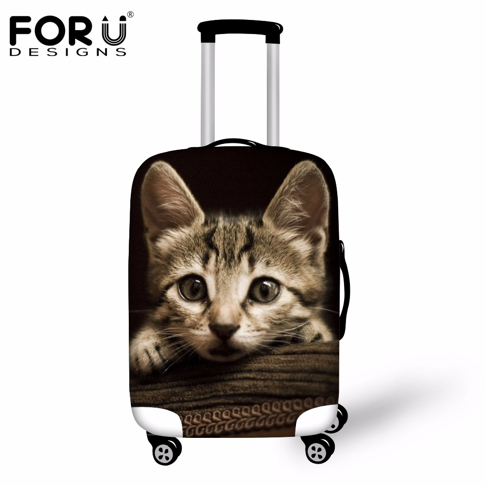 FORUDESIGNS Black 3D Cat Travel Suitcase Rain Cover Anti-dust Elastic Luggage Covers For 18 20 22 24 26 28 30 Inch Trolley Cases