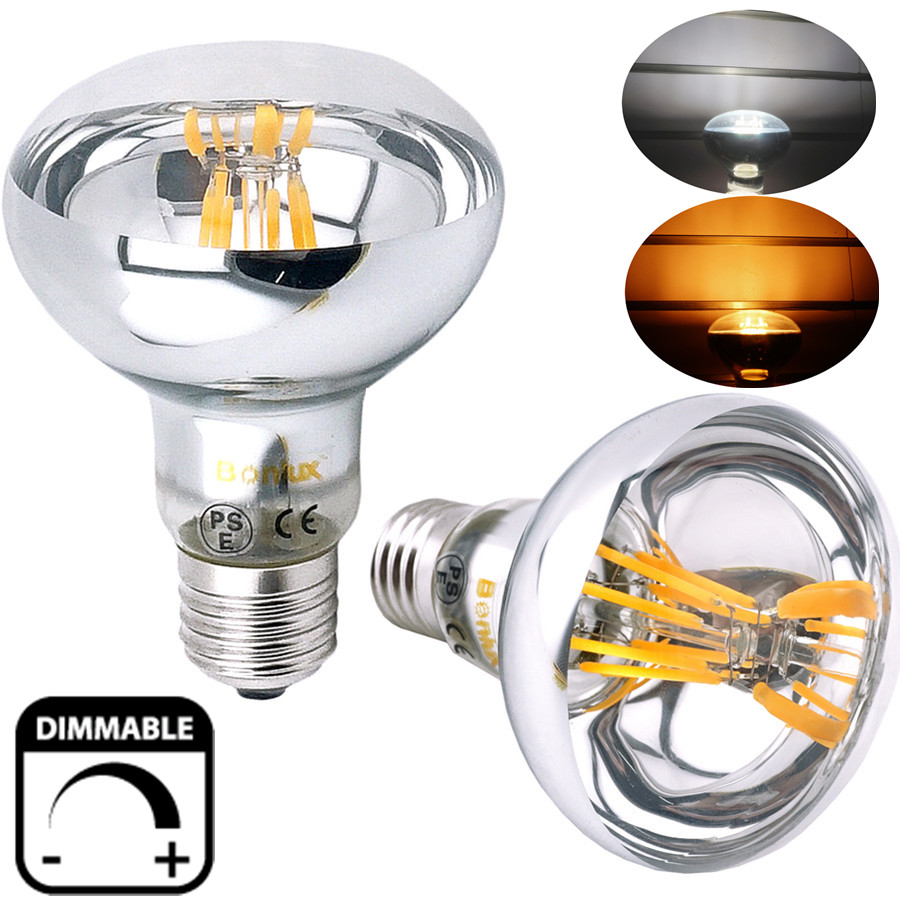 dimmable r80 es led filament reflector bulb 8w 60w replacement edison screw e26 e27 r80 led. Black Bedroom Furniture Sets. Home Design Ideas