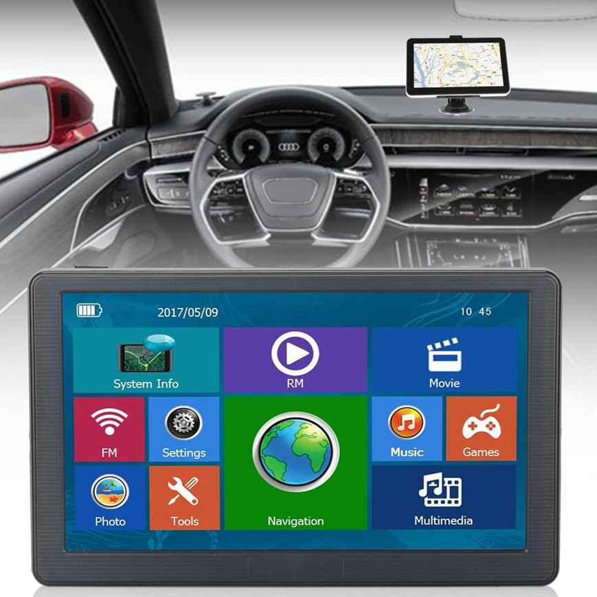 7inch Car Truck GPS Intelligent Navigation Bluetooth 8GB Wired Reversing View Camera With LED Light Sunshade Touch Screen 7 touch screen 7026 car bluetooth mp5 player gps navigation support tf usb aux fm radio rearview camera steering wheel control