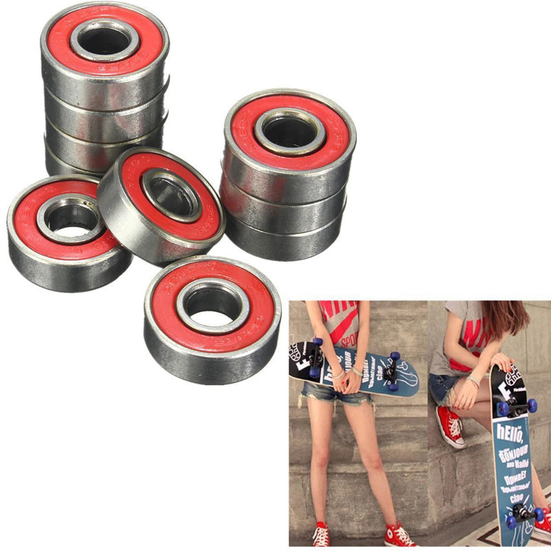 Mayitr 10pcs/Set 608zz Rolling Skateboard Longboard Wheel Durable For Skate Bearings Roller ABEC-7 Set Red Titanium
