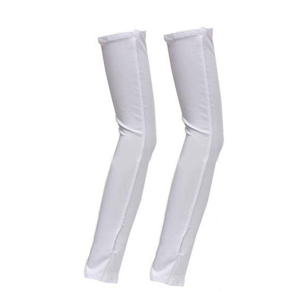 Womens Summer Mitten Long Sunscreen Gloves Unisex Electric Bicycle Arm Sleeve Anti-UV Semi-Finger Breathable Gloves White A190