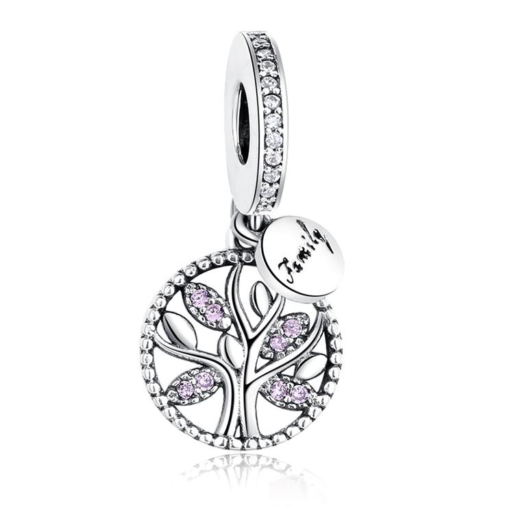 DIY Серебряный Шарм подходят Pandora браслет Бусины стерлингового серебра 925 Любовь мотаться Шарм crystal сердце, цветок, башня, дерево из бисера - Цвет: PY1183 PINK