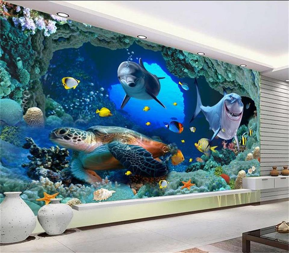 Custom 3d photo wallpaper mural living room painting seabed cave dolphin coral photo sofa TV background wall non-woven wallpaper custom 3d photo wallpaper mural non woven living room tv sofa background wall paper abstract blue guppy 3d wallpaper home decor