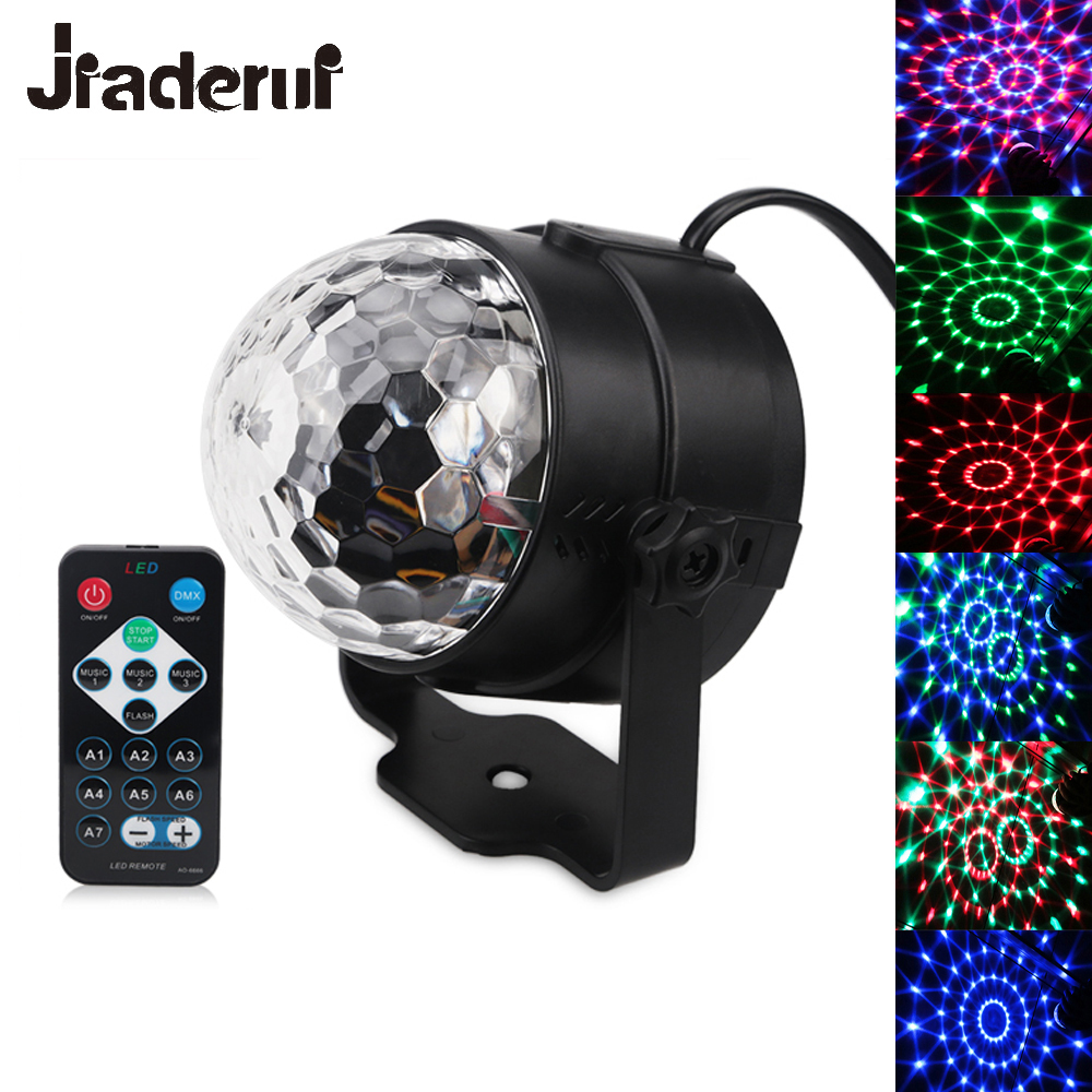 Jiaderui 3W RGB Party Disco Stage Light Music Sound Activated Rotating Magic Ball Projector Remote Control Lights for DJ KTV Bar