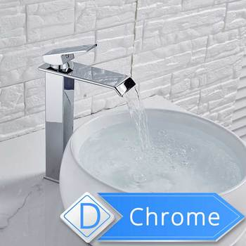 Brushed Nickel Waterfall Basin Faucet Single Lever Bathroom Vessel Sink Tap Deck Mounted Brass Lavatory sink Mixer Basin Tap 14