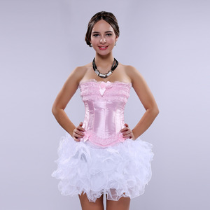 Image 3 - Carnival Party Sexy Satin Lingerie Corset and Bustier Mini Tutu Petticoat Skirt Fancy Wedding Dress Costume S 6XL