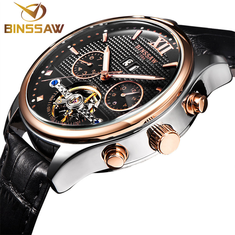 BINSSAW new men automatic mechanical watch is the tourbillon dial black leather fashion sports watches relogio masculino relojes