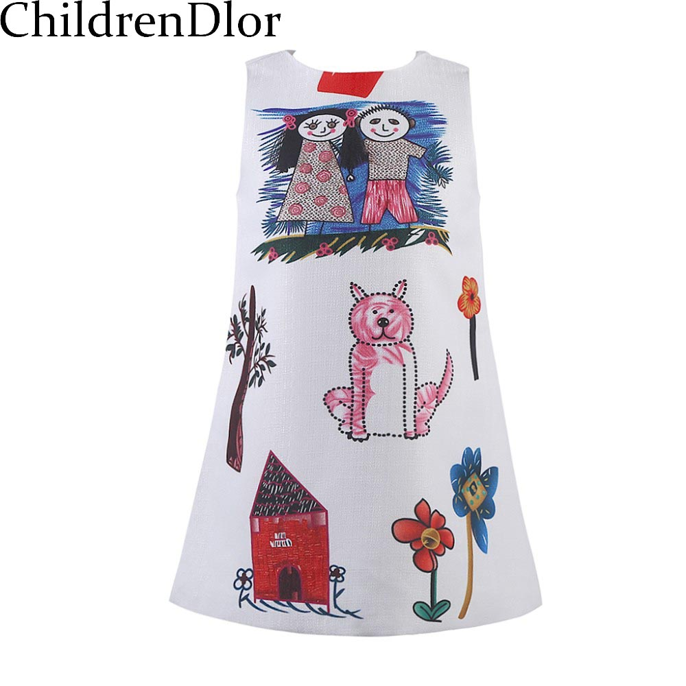 Girls Dresses Summer 2017 Designer A-line Princess Dress Girl Clothes Character Pattern Baby Girl Dress Kids Costume Robe Fille