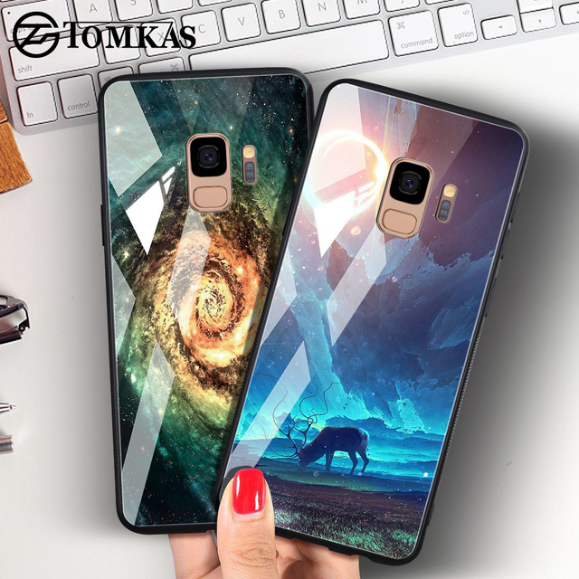TOMKAS Tempered Glass Case For Samsung Galaxy S9 S9 Plus Silicone Coque Patterned Phone Cover Cases For Samsung Galaxy Note 9 8