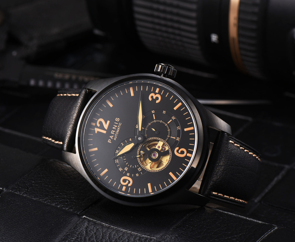 New 43mm parnis Black Dial Leather strap Date Window PVD Coated Sapphire Glass Top Brand Miyota Automatic Movement men's Watch