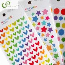 6 folhas adesivo diário planejador colorido arco-íris coração estrela decoração diário álbuns álbuns álbum de fotos brinquedos para crianças yyy gyh
