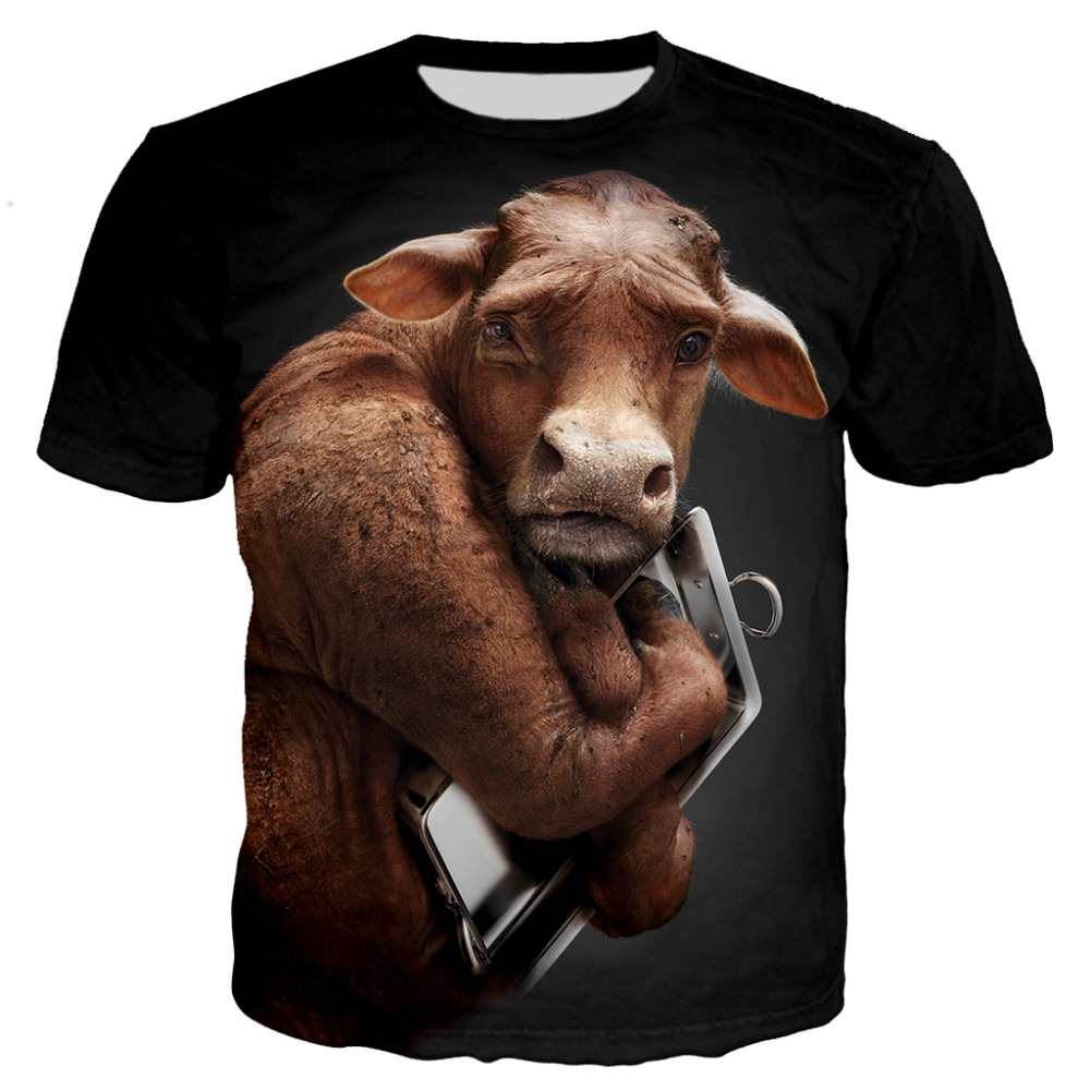 Newest plus size popular Novelty animal pig dog cow series t shirt men women 3D print harajuku style summer tops