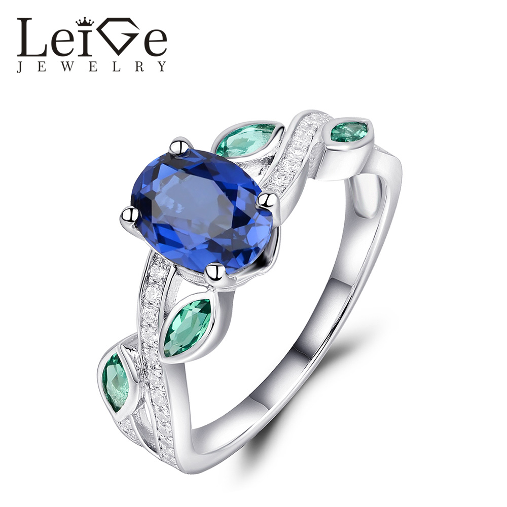 Leige Jewelry Blue Sapphire Engagement Ring for Women Christmas Gift Oval Cut Prong Setting 925 Sterling Silver JewelryLeige Jewelry Blue Sapphire Engagement Ring for Women Christmas Gift Oval Cut Prong Setting 925 Sterling Silver Jewelry