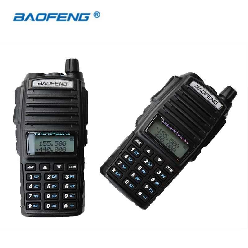 2 STÜCKE Baofeng UV-82 Walkie Talkie HAM Radio Dual Band 2 Way Tragbare Transceiver VHF UHF UV 82 Radios Handliche Communicator