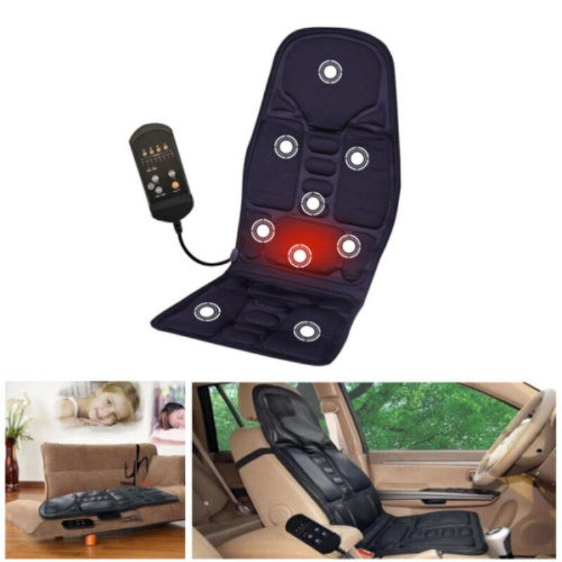 12V Car Seat Heat Massage Back Chair Cushion Pad Lumbar Neck Shoulder Massager 8 Kinds Massage mode Time Adjustable