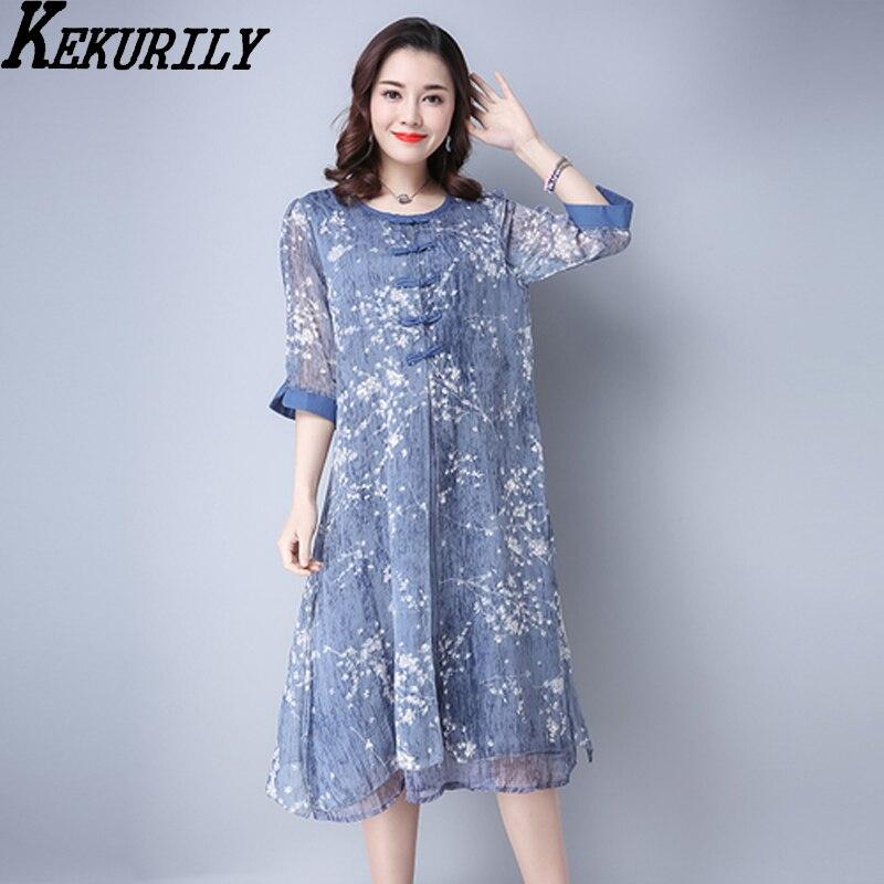 KEKURILY women fake 2 piece suits party dress silk chiffon pink floral shirt dresses elegant vintage Chinese style clothing