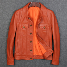 Free Shipping Orange Man Genuine Leather Jackets New Arrival Cow Skin Casual Genuine Leather Coat For Man cheap Leather Suede Cow Leather Turn-down Collar Short COTTON STANDARD Full Slim Pockets Button DAYDAYFASHION zipper NONE Solid