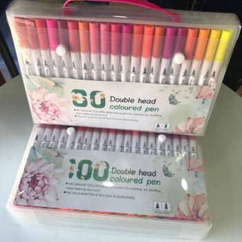 24/36/48 зубная щетка с двумя головками и маркер цвет ручка для начинающих мягкий Акварельная ручка взрослая живопись комплект, принадлежности...