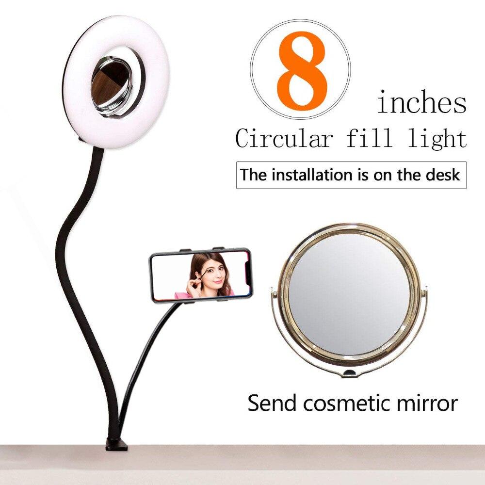 GSKAIWEN 8 ''Table LED Selfie Anneau Lumière Dimmable Photo Studio LED Éclairage Kit avec Miroir de Maquillage et Support de Téléphone clip