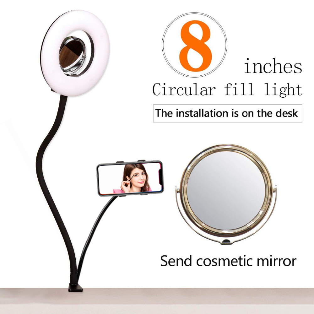 GSKAIWEN 8'' Tabletop LED Selfie Ring Light Dimmable Photo Studio LED Lighting Kit with Makeup Mirror and Phone Holder Clip