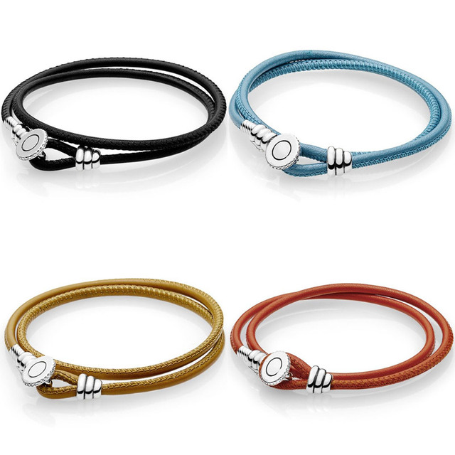 925 Sterling Silver Bracelet Multicolor Double Leather With Logo