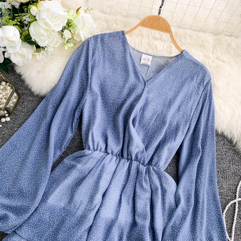 Korean Summer 2019 Sweet Women Dress Elegant V Neck Puff Sleeve Dot Print Dress Cascading Ruffle A Line Female Dress Vestido 53