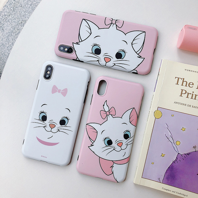 Cute Cartoon Marie <font><b>cat</b></font> Phone <font><b>Cases</b></font> For iphone6 6S 7 <font><b>8</b></font> Plus <font><b>case</b></font> Silicone Pink Matte BackCover For iphoneX XS MAX XR Capa image