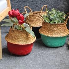 Folding Seagrass Basket laundry basket wicker bag Storage Basket Rattan Flower Pot Woven Garden Planter panier osier Kids Toys недорого