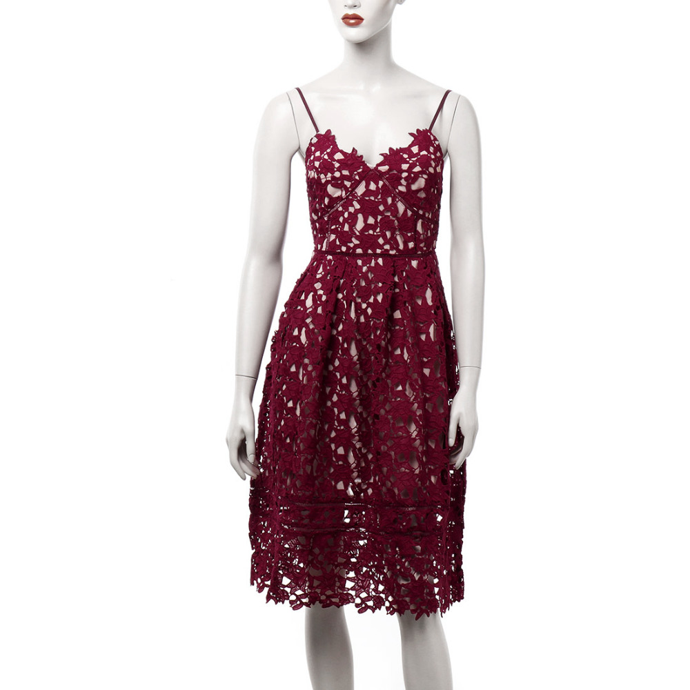 2017 Runway Party Dress Women s Sexy Spaghetti Strap Lace Mid Calf Dress  Crochet V Neck Backless Summer Dresses Vestidos Red-in Dresses from Women s  ... 9e8a8325cffc