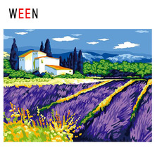 WEEN Lavender Diy Painting By Numbers Abstract Town Oil On Canvas Flower Field Cuadros Decoracion Acrylic Home Decor