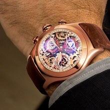 Reef Tiger/RT спортивные часы с хронографом для Мужчин Скелет циферблат с датой три счетчика светящиеся розовое золото уникальные часы RGA792