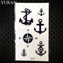 Small Black Anchor Pirate Ghost Fake Tattoo Children Men Finger Temporary Tattoo Stickers Women Body Arm Art Tattos Kids Compass