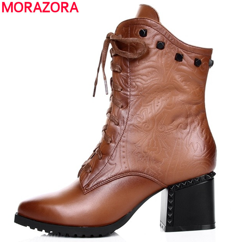 MORAZORA New autumn winter full genuine leather boots lace up pointed toe black brown square high heels motorcycle ankle boots front lace up casual ankle boots autumn vintage brown new booties flat genuine leather suede shoes round toe fall female fashion