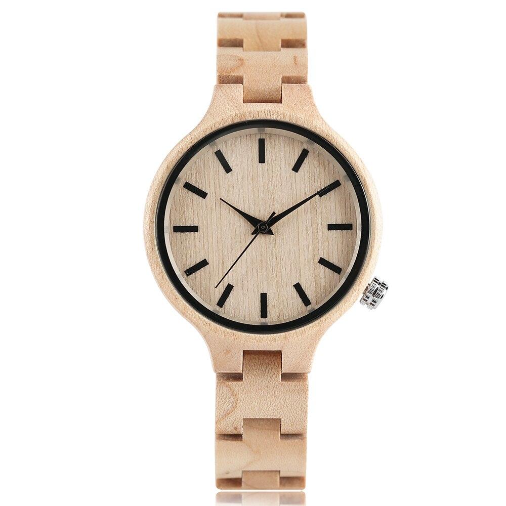 Unique Women Maple Wood Watch Slim Wooden Bracelet Brief Ladies Wood Wristwatch Modern Business Female Clock Elegant Grils Gifts