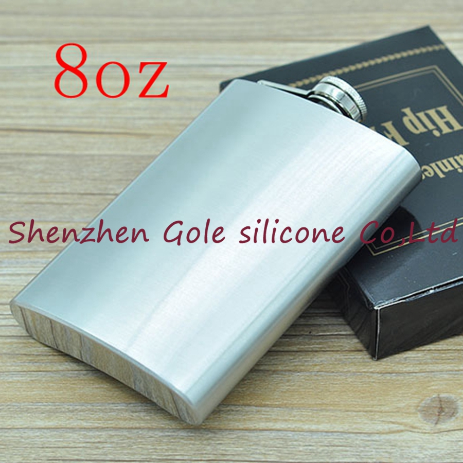 100pcs 8oz Stainless Steel Pocket Flask Russian Hip Flask Male Small Portable Mini Shot Bottles Whiskey Jug Small Gifts For Man