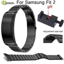 все цены на 18mm Stainless Steel Bracelet Wrist Strap For Samsung Gear Fit 2 Fit2 Pro SM-R360 Luxury Metal smart Watchbands Wrist Band+tool онлайн