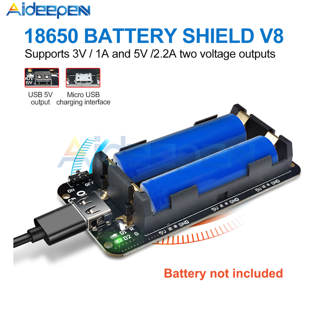 Two 18650 Lithium Battery Shield V8 5V/3A 3V/1A Micro USB Power Bank Battery Charging Module For Raspberry Pi Wifi ESP8266 ESP32Two 18650 Lithium Battery Shield V8 5V/3A 3V/1A Micro USB Power Bank Battery Charging Module For Raspberry Pi Wifi ESP8266 ESP32