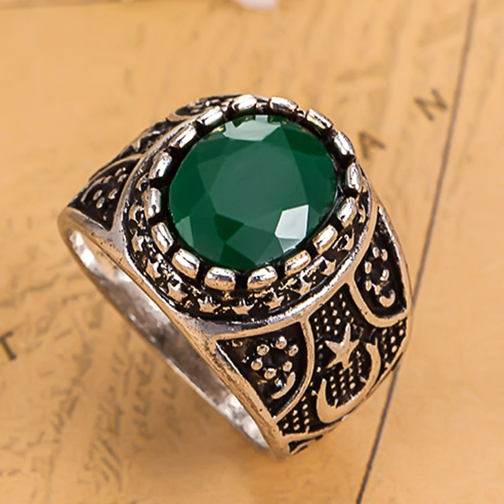 luxury brand antique silver rings women wedding jewelry colar feminios anel resin turkish finger rings men accessories the ring - Turkish Wedding Ring