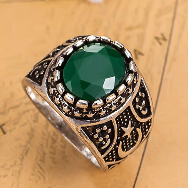 luxury brand vintage resin rings women wedding jewelry green color anel turkish finger rings men couple