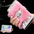 For Samsung S6 Edge Capa Rabbit Fur Fox Head Leather Case For Samsung Galaxy S6 Edge G925 Glitter Crystal Diamond Wallet Cover