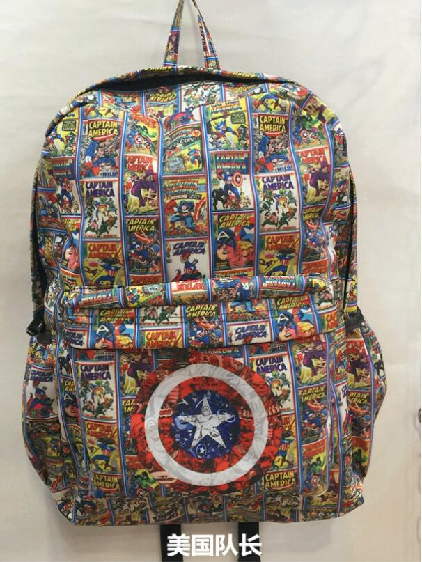 Marvel Captain America Backpack School Bag Laptop Travel Bags New FULL SIZE Free Ship B026 ...