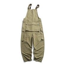 Комбинезон в японском стиле с множеством карманов, Свободный комбинезон, повседневные брюки в стиле ретро, размер M-XL